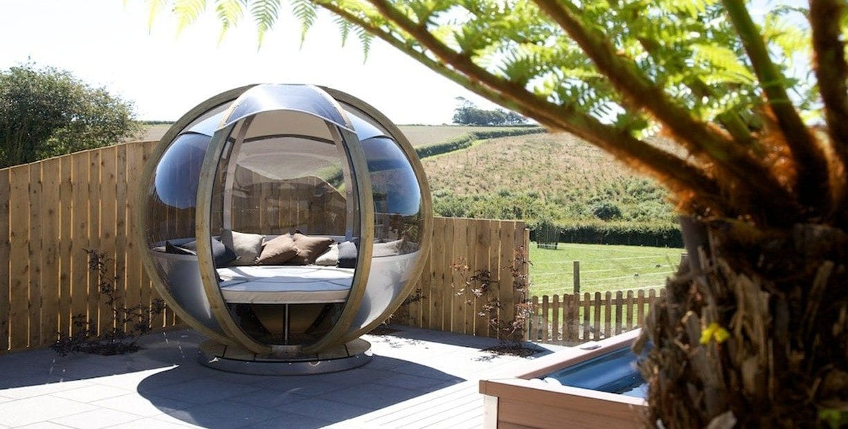Bamboo round chair - Hot Tub Garden Tredethick Farm Cottages